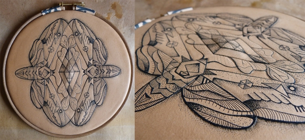 Double moth mandala Tattooed Leather Art