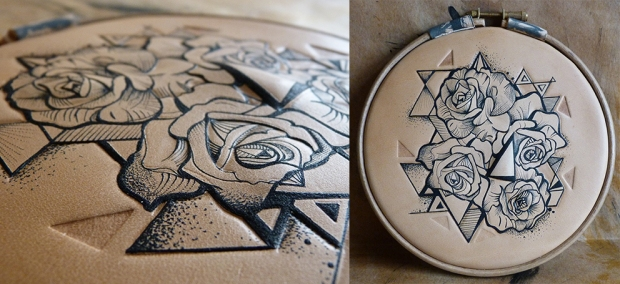 Finished piece of tattooed leather art: Geometric roses