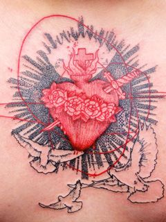 Sacred Heart Cross Wings Tattoo Design