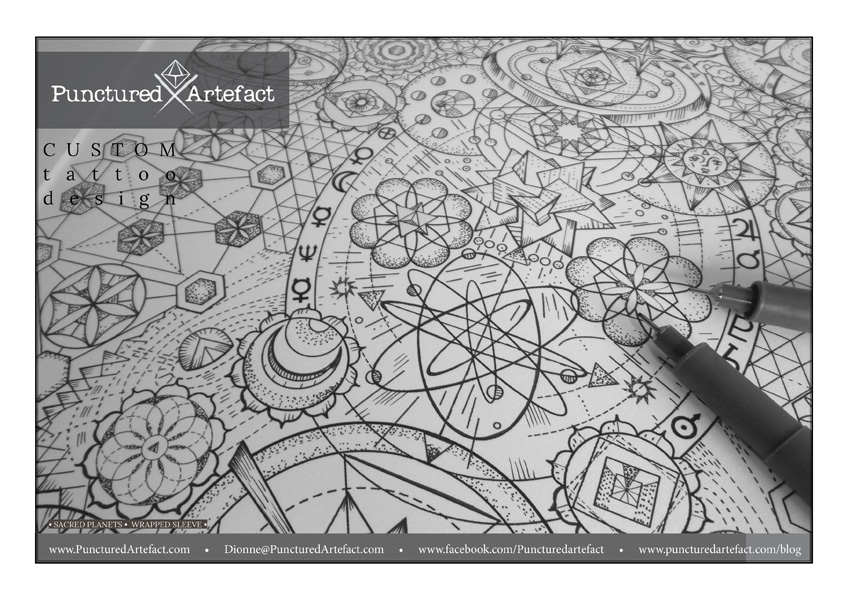 Fine Line Art : Custom ink. sacred planets inkspiration